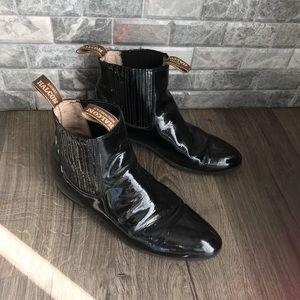 Halcon men's patent leather ankle boots  black 11
